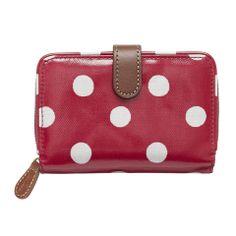 e425d9f8323 Cath Kidston Button spot cranberry folded zip w... Cath Kidston Wallet, Cath