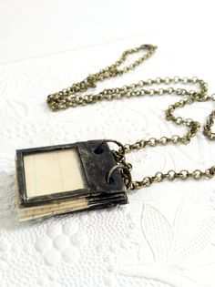 Tiny Scrap Book Journal Necklace Dream Journal by Mystarrrs
