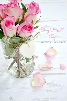 DIY- Clay Heart Tag Mason Jar Vase- Sweet & So Simple !
