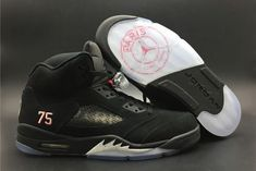 on sale 50112 c35eb 2018 Air Jordan 5 Paris Saint-Germain Black White Challenge Red AV9175-001-3