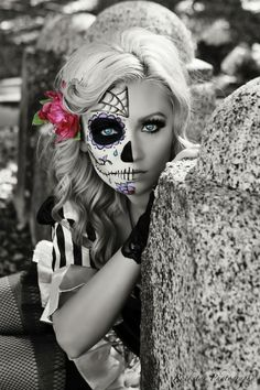 Sugar skull make up by Kacee at Hairspray Beauty Lounge in Santa Rosa CA, photo by Rockstar Photography in Petaluma CA facebook.com/rockstarphotography1