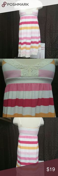 Pink Victoria's Secret size extra small Adorable little dress has adjustable straps colors are different shades of pink red yellow and white lace at the bottom lace at the breast cotton and polyester blend size extra small PINK Victoria's Secret Dresses