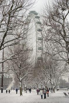 South Bank in the snow,London Eye,London