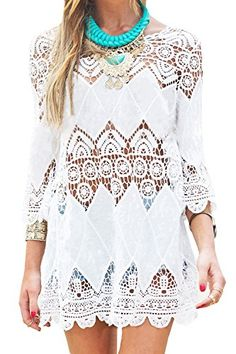 e7da972618f8d GDKEY Women's Beach Wear Bikini Cover Up Crochet Tunic Dress(M,White) Lace