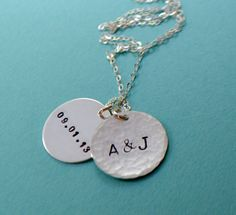 Sterling Silver Two Disc Monogram and Date Necklace by SeaSaltShop, $30.00