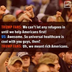 Trump fans vs. refugees