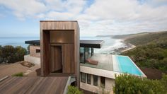 This pool's architecture is grounded in the Lorne cliffs with a glass sanctuary suspended above.