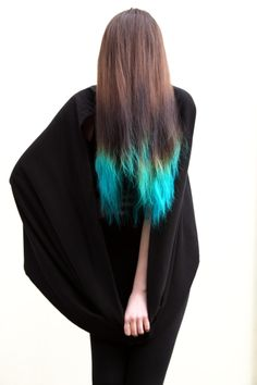 Ombré tips with teal blue