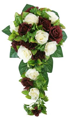 Burgundy and Ivoray Silk Rose Cascade