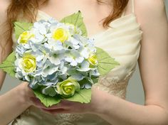 Hydrangea and Roses Paper Wedding Bouquet - Blue and Yellow Bridal Bouquet