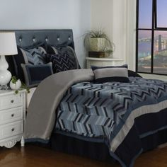 Lexi 7-Piece Comforter Set in Navy - BedBathandBeyond.com DRY CLEAN ONLY