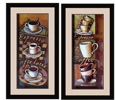 Cafe Espresso 3D Kitchen Dining Room Wall Art Decor Set of 2 | eBay