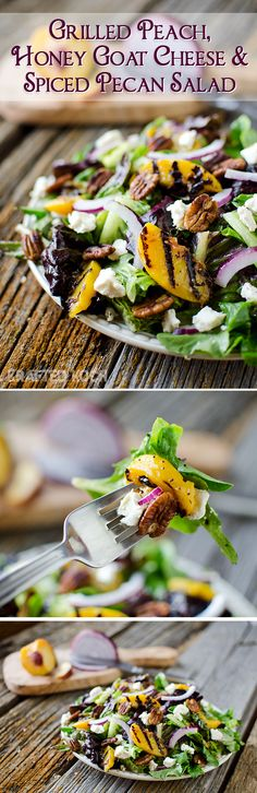 Grilled Peach, Honey Goat Cheese & Spiced Pecan Salad - Krafted Koch