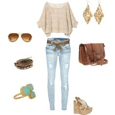 School Outfit! love it except i'd switch wedges with cute sandals