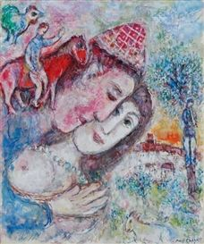 Artwork by Marc Chagall, LE COLLIER BLEU, Made of oil on canvas