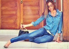 look com calça jeans skinny da levis mais camisa jeans