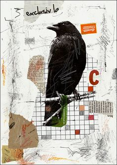 PRINT Raven -  Mixed media collage By Mirel E.Ologeanu.  via Etsy.