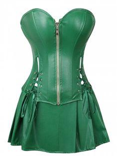 7f61fb84b4a Grebrafan Women Faux Leather Corset Dress Gothic Punk Zipper Corset with  Skirt