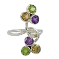VISIT US : www.indiagems.com Amethyst Peridot Citrine Silver Ring, 925 sterling silver jewelry, gemstone jewelry