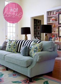 This is such a fun house! I love the unusual mix of colors and patterns. I think we need a couch like this in my living room! Living Room Pillows, My Living Room, Home And Living, Living Room Decor, Living Spaces, Cozy Living, Ikat Pillows, Green Pillows, Couch Pillows