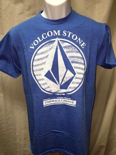 Mens Volcom T-Shirt S Blue Preshrunk Cotton/Poly Surf Skate Small NEW