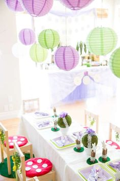 Decorated Table at a Woodland Fairy Birthday Party!  See more party planning ideas at CatchMyParty.com!