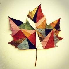 Painted leaves.