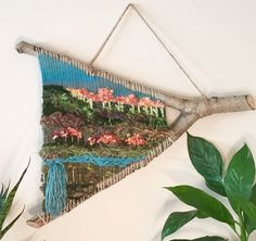 Branch Weaving 'Hidden Waterfall' Wall Hanging Textile, Wall Art, Wall Decor, Home Decor, Handmade - Weaving Wall Hanging, Weaving Art, Tapestry Weaving, Loom Weaving, Weaving Textiles, Wall Hangings, Yarn Wall Art, Art Textile, Weaving Projects