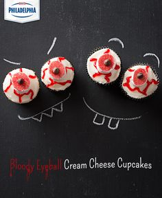 Dress up your cream cheese cupcakes for Halloween! A little red decorating gel and red sugar can make just about any cupcake spooky! #recipe