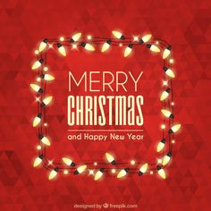Merry christmas with polygonal background and lights Free Vector