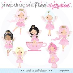 Pink & Gold Fairy Clipart Fairy Party clipart Fairy Princess