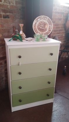 Here is a great idea from The Paint Locker in NC. Thank you for sharing this wonderful dresser. This is a fun way to take any ugly piece and have some fun with it. The bottom drawer is straight Nan...