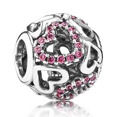 PANDORA Falling in Love charm in sterling silver with fancy pink cubic zirconia hearts. Hearts in shining silver and glittering pink stones freefall in this delightful open work charm. <br><strong>Style: </strong>791424CZS