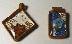Very interesting tutorial on how to make polymer clay pendant frames and then filling with epoxy resin. The pictures in the tutorial are fairly self-explanatory. I was thinking Magic-glos (a UV resin) or even liquid clay could be used in place of the epoxy resin.