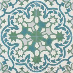 Havana Cantina cement tile. Handmade tile for floors and walls. Aqua, Khaki, Cream, green flooring. Shown 4 tiles. In Stock.