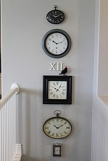 I saw THE most beautiful arrangements of clocks at someone's home this weekend...can't wait to start collecting to create my own clock collection!!