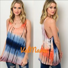 Tie Dye Mixed Color Long Soft Tank MADE IN USA This hand dipped tie dye super soft and stretchy long tank top has a gorgeous racer back. Since each top is hand dipped, the tie dye will differ from each top. May not look exactly like the stock photo but the colors orange and navy are present in each top. So comfortable and slightly flowy. Have size S (2-4) M (6-8) and L (10-12) you may purchase this listing as I've created individual listings for each size. Price is firm unless bundled. Made…