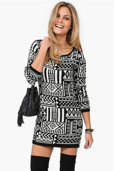 Tribal dress, I'd wear leggings with this! But super cute with the thigh high boots too