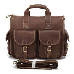 "Men's Brown Briefcase Laptop Hand Item No.: 7106R Material: Guarantee Crazy Horse leather Size: 13.5"" L x 6"" W x 11.5"" H Color: Dark brown color Stock:  185"