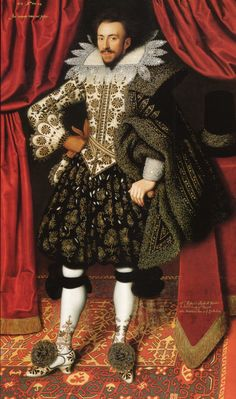 *** Richard Sackville, 3rd Earl of Dorset, 1613 Artist: W. Larkin - shoes matching with pretty much everything - embroidery/painting also on heels -oval last