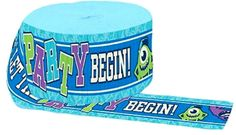 """[Single Pack] Crepe Paper Streamer Roll """"Monsters University Inc with Mike Wazowski Party Design"""" for Decoration and Craft Supply with 30 Ft / 9.1 M Length {Blue, Green, Purple, and White Colors}"""