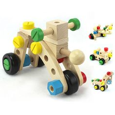 Combinación coche tuerca de Magicaf juguetes desmontables diversión madera…