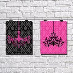 "INSTANT DOWNLOAD // Chandelier // Pink & Black // Home Decor // Wall Art // 8""x10"""