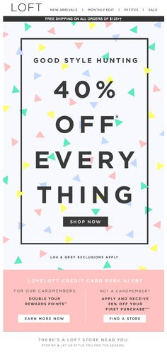 Off Everything design from Loft - Sales Email - Ideas of Sales Email - Off Everything design from Loft Minimal Web Design, Email Marketing Design, Online Marketing, Content Marketing, Ad Design, Layout Design, Branding, Email Layout, Email Newsletter Design