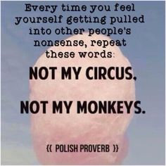 Every time you feel yourself getting pulled into other people's nonsense, repeat these words ~ Not My Circus.  Not My Monkeys.  #mantra