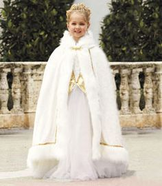 golden princess cape - fFinish your royal look with this dream-come-true hooded cape. made of white velour, it has white faux fur trim and gold accents.