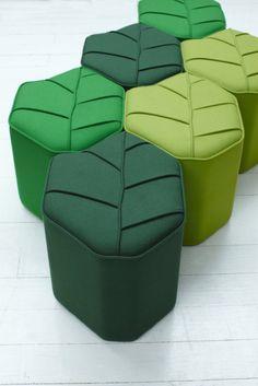 Upholstered wool pouf LEAF SEAT by Design by nico | design Nicolette de Waart