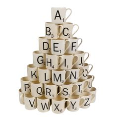 Celebrate the classic game with these Scrabble themed mugs. Each ceramic mug features one Scrabble letter on the front and the official Scrabble letter distribu