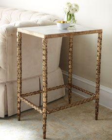 Marble top, gold leaves on legs table $449
