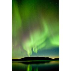 Northern lights (aurora borealis), Lapland, Finland Photo ❤ liked on Polyvore featuring home, home decor, backgrounds, green, auroras, pictures and green home decor